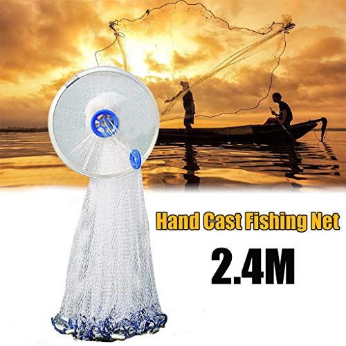 Catch Fish Network, Magic Fishing Net Fine Fish Aluminum Ring American Aluminum Ring Monofilament Thread Throwing Net (2.4 meters diameter, blue) by Sunsee (Image #6)
