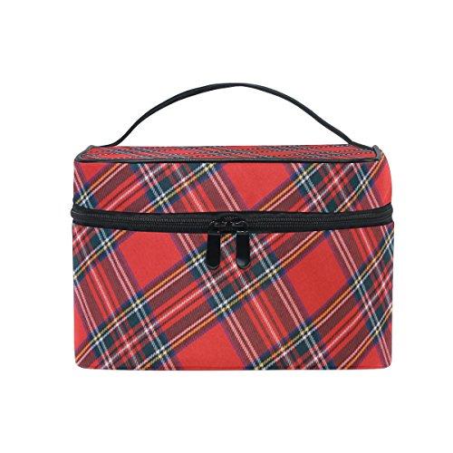 Plaid Train (ALIREA Royal Stewart Tartan Cosmetic Bag Travel Makeup Train Cases Storage Organizer)