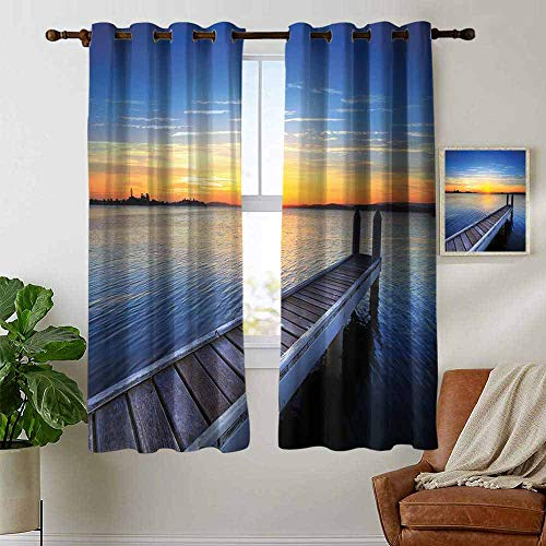 Blackout Curtains Lake,Tranquil Summer View of Setting Sun on The Horizon of Lake Macquarie in Belmont,Blue Orange Umber,Thermal Insulated Panels Home Décor Window Draperies for Bedroom 42