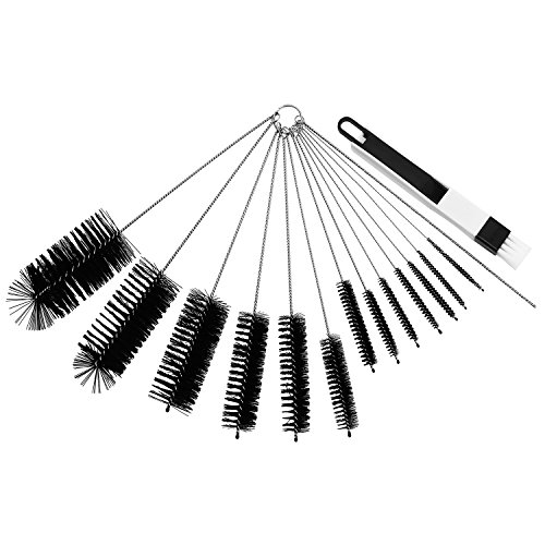 (Aluan Tube Brush Set Pipe Cleaner 15 Pack Nylon Bottle Cleaning Brush Fully Covered with Bristles for Straw Coffee Pot Baby Bottle Jar Window Keyboard Gun)