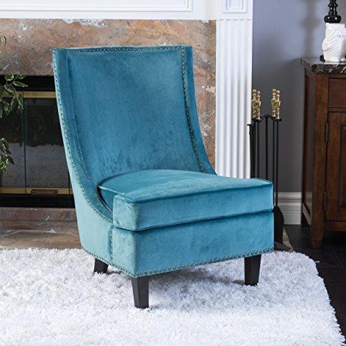 Christopher Knight Home 296308 Carole Velvet Accent Chair, Blue by Christopher Knight Home