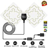 HDTV Antenna, 1080P Transparent Digital TV Antenna 50 Mile Range with Detachable Amplifier Signal Booster, USB power supply and 13ft Coax Cable for free TV programme(Transparent)