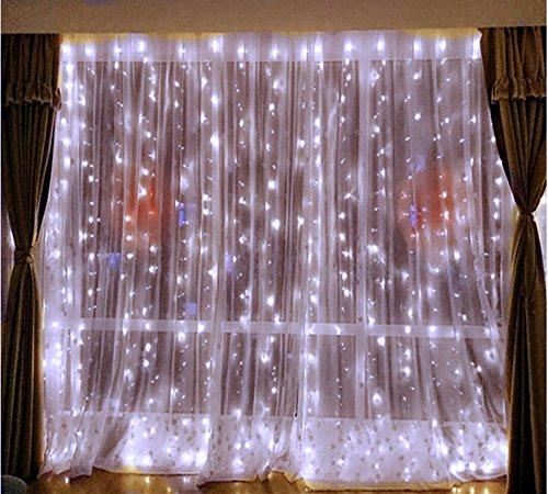 DLPIN 304LED Linkable Window Curtain Lights Wedding Lights Fariy UL Safe Fuse 8 Mode Saving Settings 9.8ft - White