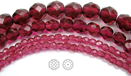 8mm (153) Fuchsia, 3x16in strands, Czech Fire Polished Round Faceted Glass Beads