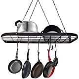 VDOMUS Pot rack Ceiling Mounted Cookware Rack Hanging Hanger Organizer with Hooks, Black