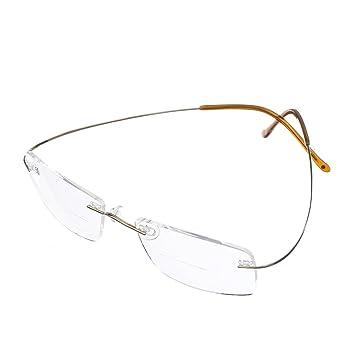 78f21e2dc17f Bi Tao Super Light 100% Titanium Bifocal Reading Glasses Men Women Fashion  Rimless Reading Eyeglasses