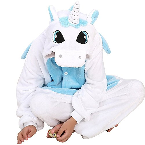 [ABING Halloween Pajamas Homewear OnePiece Onesie Cosplay Costumes Kigurumi Animal Outfit Loungewear,Blue Unicorn Chidren Size 105 -for] (Animals Dressed Up In Halloween Costumes)