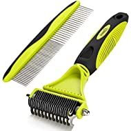 Pecute Dematting Comb Grooming Tool Kit for Dog & Cat Double Sided Blade Rake Comb with Grooming Brush (Dematting Comb)