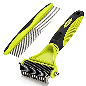 Pecute Dematting Comb Grooming Tool Kit for Dog & Cat Double Sided Blade Rake Comb with Grooming Brush 84