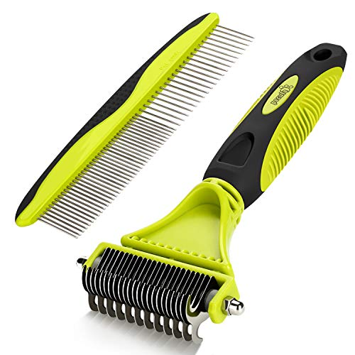 Pecute Pet Grooming Tool - 2 Sided Undercoat Rake with Double Sided Blade for Cats & Dogs - Safe Dematting Comb for Easy Mats & Tangles Removing with Grooming Brush