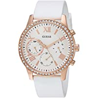 GUESS Women's Quartz Stainless Steel and Silicone Casual Watch, Color:White (Model: U1135L1)