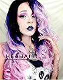 Cheap Heahair Ombre Pink Rainbow Wave Synthetic Lace Front Wig Hs0009
