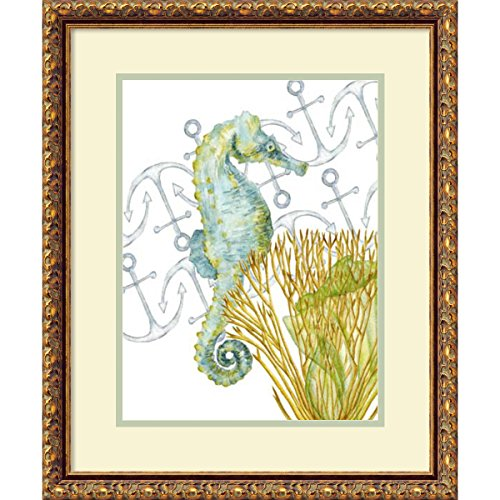 Framed Art Print 'Undersea Creatures I Seahorse' by Melissa Wang: Outer Size 19 x 23'' by Amanti Art