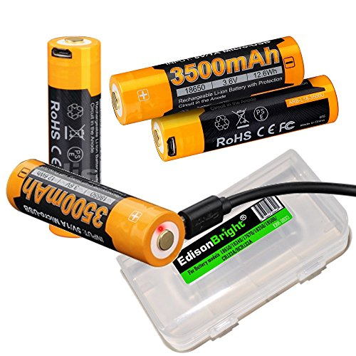 4 Pack Fenix ARB-L18-3500U 3500mAh direct USB rechargeable 18650 Li-ion (built-in charging circuit) batteries with Edisonbright BBX3 battery case