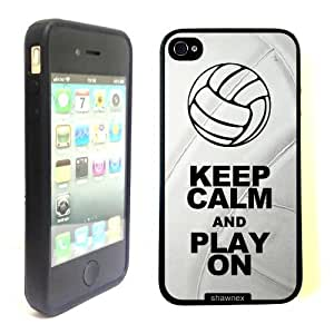 iPhone 4 4S Case ThinShell TPU Case Protective iPhone 4 4S Case Shawnex Volleyball Keep Calm Play On Volleyball Player