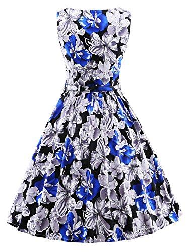 Rockabilly Sans Manches Vintage Floral Féminin Betusline Gris Robe Swing