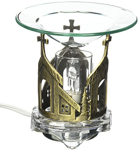 StealStreet MG-639B Decorative Pewter Church with Cross Electric Oil Aromatherapy Burner