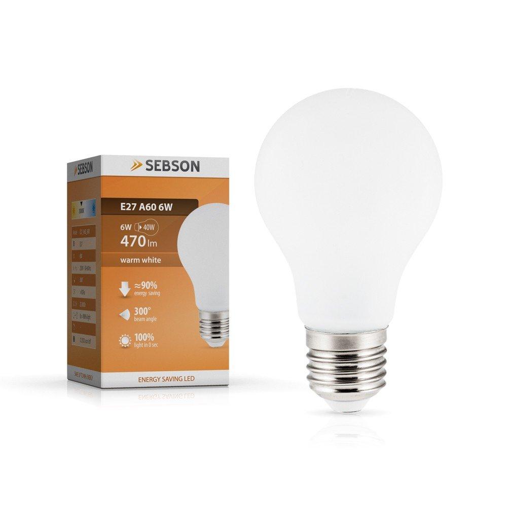 Sebson E27 LED 6 W Lampe - vergleiche 40 W Glühlampe - 470 Lumen ...