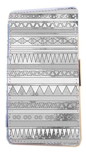 Aztec Gris Gris Portefeuille à rabat en imitation cuir pour téléphone portable Coque pour iPhone 45C 6S Samsung S6S5S4S3Mini, Cuir synthétique, gris, Samsung Galaxy S5 Mini