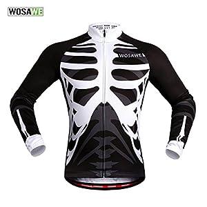 51HkGutNeuL. SS300 WOSAWE Maglia Ciclismo Traspirante Maniche Corta/Lunghe Ciclismo Abbigliamento Giacca+ 4D Imbottito Bici Pantalone