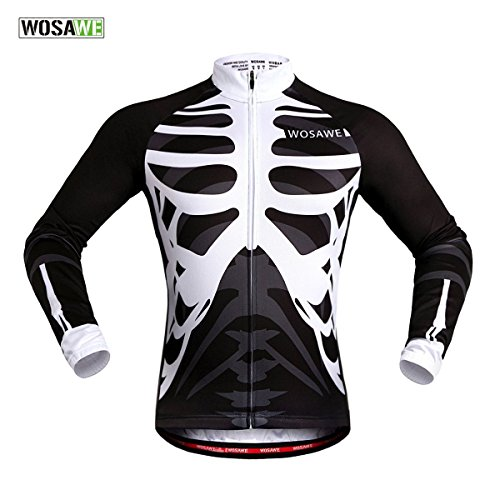 WOSAWE Mens Breathable Cycling Jersey 4D Padded Breathable Quick Dry (Jersey_Skeleton (Long Sleeve), - Jersey Cycling Mens