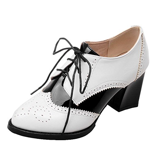 Mee Shoes Women's Charm Lace up Court Shoes White