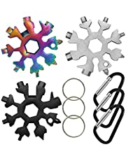 3 Pack 18 in 1 Snowflake Multi Tool, SourceTon Portable Stainless Steel Screwdriver Bottle Opener Snowflake Multitool with Key Ring,Carabiner(Black ,Silver, Colorful)