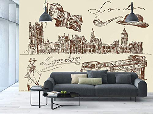 Funky Wall Mural Sticker [ London,Sketch of National British Emblems Big Ben Houses of Parliament Bus Flag,Dark Brown and Cream ] Self-adhesive Vinyl Wallpaper / Removable Modern Decorating Wall Art -