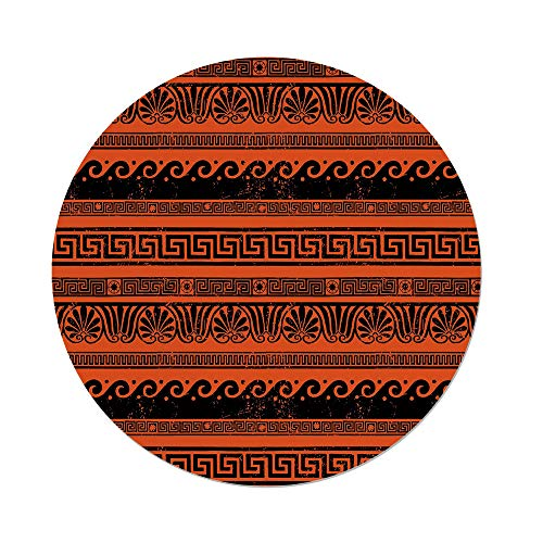 Polyester Round Tablecloth,Toga Party,Classical Border Ornaments in Ancient Greek Style Grunge Aged Display Print Decorative,Orange Black,Dining Room Kitchen Picnic Table Cloth Cover,for Outdoor Indo by iPrint