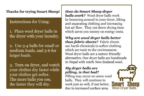 Wool Dryer Balls by Smart Sheep 6Pack XL Premium Reusable Natural Fabric Softener