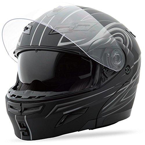 (G-Max GM54S Modular Street Helmet , Color: Flat Black/Silver, Size: Lg, Style: Derk 1540396 F.TC-12 )