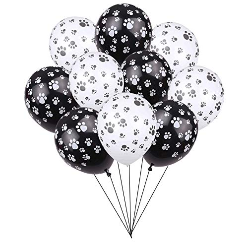 24PCS Dog Paw Prints 12 Inch Latex Balloons,for Paw Patrol Birthday Party, Puppy Party, Dog Animal Rescue Events (Black Paw Print Party Supplies)