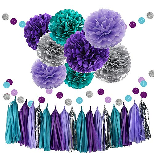 Teal Purple Lavender Silver Tissue Paper Pom Poms Flowers Tissue Tassel Garland Polka Dot Paper Garland Kit for Bridal Shower Snow or Sea Theme Mermaid Wedding Ball Party Decoration -