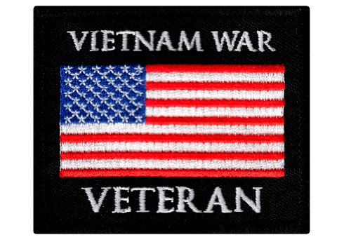 Vietnam War Veteran Embroidered Patch Military Iron-On Emblem Vet US Flag