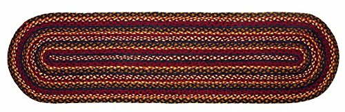 IHF Home Decor Country Style New Braided Rug 13'' x 48'' Oval Table Runner Jute Fabric Blueberry Design