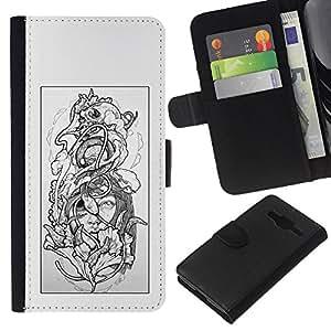 KLONGSHOP // Tirón de la caja Cartera de cuero con ranuras para tarjetas - Floral gris Mujer Pétalo Negro Blanco - Samsung Galaxy Core Prime //