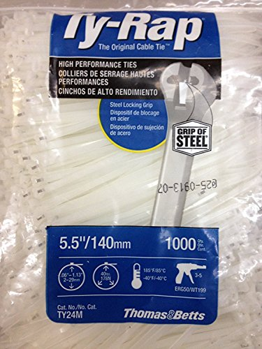 TY24M Cable Tie 30lb 5.5'' Natural Nylon with Stainless Steel Locking Device Bulk Pack, Military Specified (MIL-SPEC MS3367-5-9) 1000 Per Bag by Thomas & Betts (Image #1)