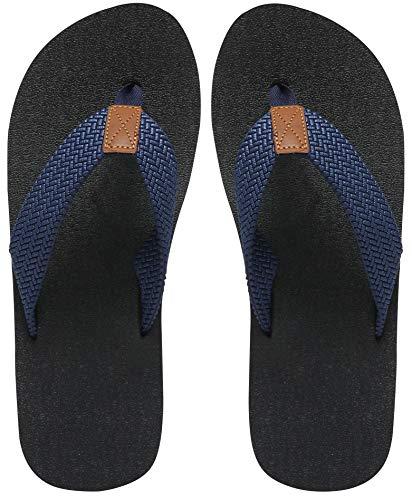 (MAIITRIP Mens Flip Flops Size 11,Summer Beach Shoes,Non-Slip Rubber Shower Thong Sandals,Navy)