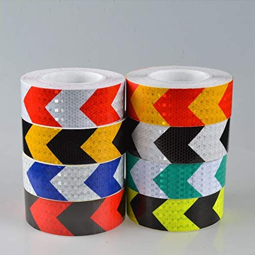 5CM Width Long Self-adhesive PVC Reflective Safety Warning Tape Road Traffic Construction Site Reflective Arrow red /& white 5CM x 3 meters