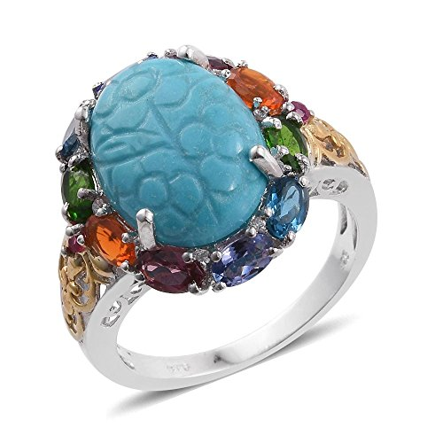 Sleeping Beauty Turquoise Carved Multi Gemstone 14K YG and Platinum Plated Sterling Silver Ring Size 6 (Multi Gemstone Yg 14k)