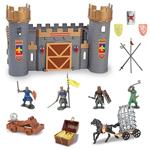 Liberty Imports Medieval Castle Knights Action Figure Toy Army Playset with Weapons & Accessories in Storage (Medieval Toy Figures)