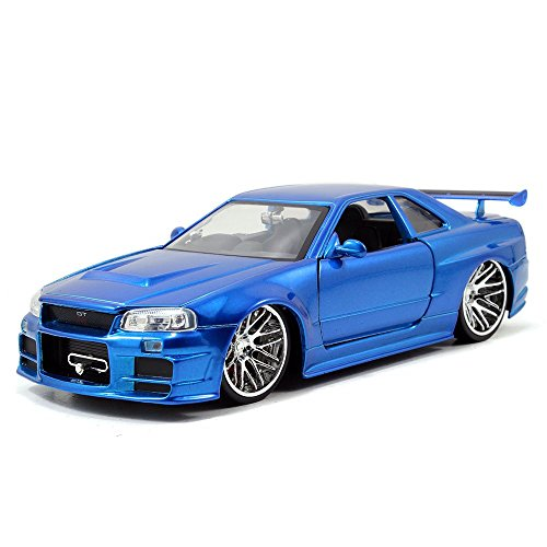 Jada Toys Fast & Furious Nissan Skyline GT-R (R34) Die-Cast Car, 1:24 Scale Blue (Renewed) (Nissan Skyline R34 Gtr Fast And Furious)