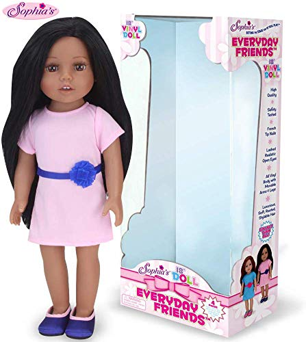 Sophias Dark Brown Haired Doll 18 Inch Vinyl Girl Fashion Doll with Light Pink Dress and Navy Shoes Perfect Girl Friend for Your Favorite American Doll!