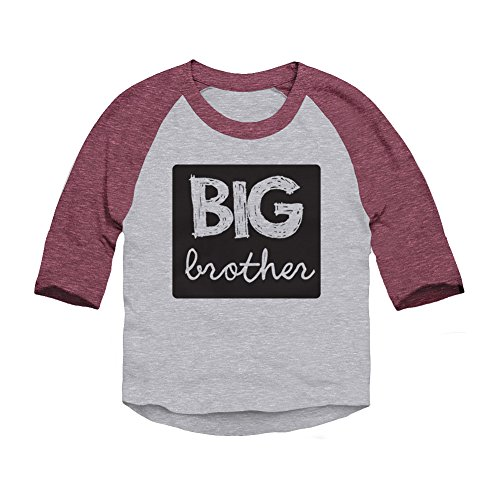 Trunk Candy Boys Toddler Big Brother 3/4 Sleeve Raglan Baseball T-shirt (Heather / Burgundy, 3T)