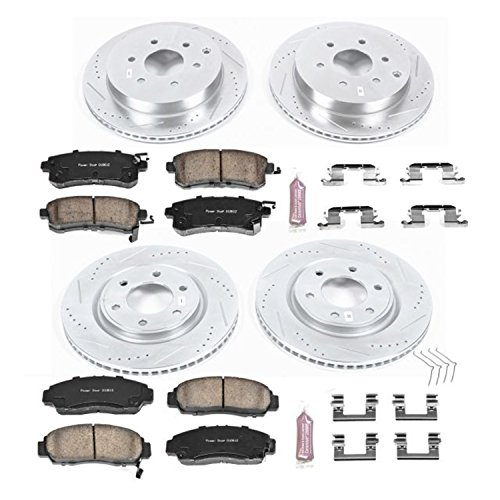 Power Stop K6322 Front and Rear Z23 Evolution Brake Kit with Drilled/Slotted Rotors and Ceramic Brake Pads