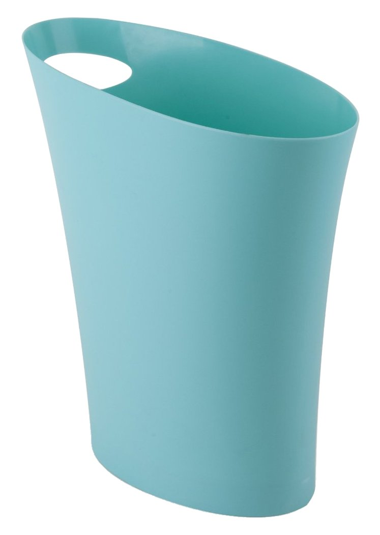Umbra Skinny Trash Can – Sleek & Stylish Bathroom Trash Can, Small Garbage Can Wastebasket for Narrow Spaces at Home or Office, 2 Gallon Capacity, Surf Blue by Umbra