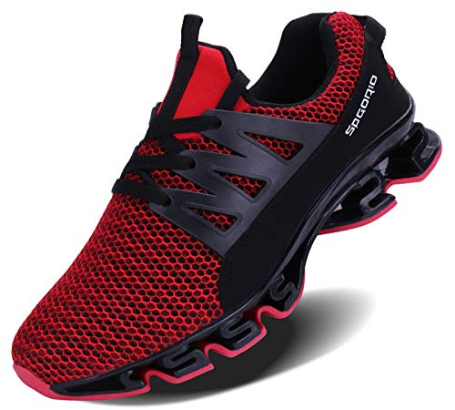 JointlyCreating Mens Casual Walking Sneakers Slip On Blade Outdoor Sport Shoes (10, 2-red)