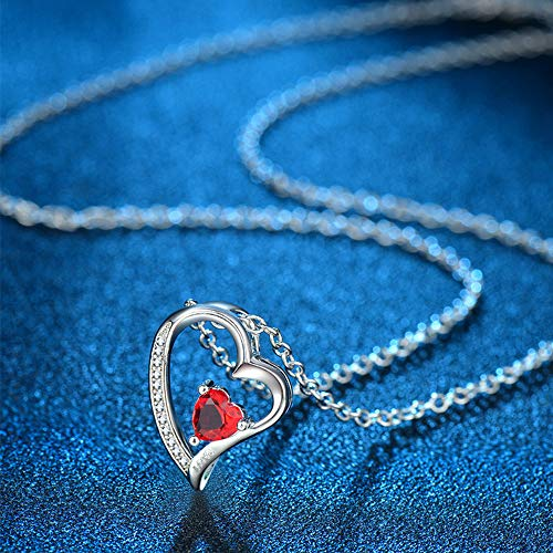 Happy Camp Forever Love Heart Women Necklace 925 Sterling Silver Birthstone Pendant Necklaces for Women with 925 Sterling Silver Chain and 5A Cubic Zirconia Jewelry for Women 18\'\' (Sliver-01-Jan)
