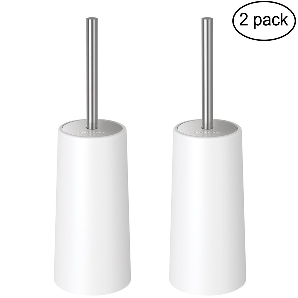 HOMEMAXS Toilet Brush with Holder - Extra Long Heavy Duty Stainless Steel Handle Bowl Scrubber Cleaner Set, 2 Pack – Ergonomic, Durable Shed-Free Scrubbing Bristles, Discreet Wand Stand by HOMEMAXS (Image #1)