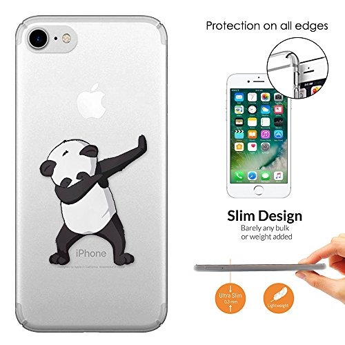 "c01419 - Panda DAB Dance Move Rap RnB Design iphone 7 4.7"" Fashion Trend Leichtgewicht Hülle Ultra Slim 0.3MM Kunststoff Kanten und Rückseite Protection Hülle - Clear"